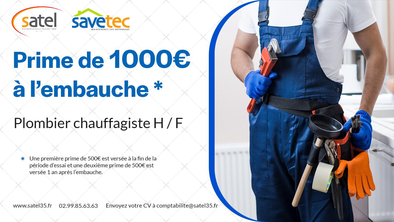 Prime emploi plombier chauffagiste SATEL SAVETEC